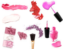 Collection of various make up accessories on white background Royalty Free Stock Photography