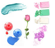 Collection of various make up accessories on white background Royalty Free Stock Images