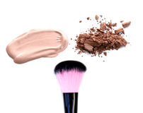 Collection of various make up accessories on white background Royalty Free Stock Photo
