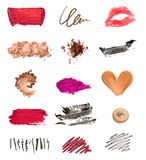 Collection of various make up accessories on white background. each one is shot separately stock image