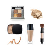 Collection of various make up powder. Isolated on white Royalty Free Stock Photo