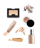 Collection of various make up powder. Isolated on white Royalty Free Stock Images