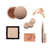 Collection of various make up powder. Isolated on white Royalty Free Stock Photography