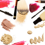 Collection of various make up on white background. Each one is shot separately.  Royalty Free Stock Images