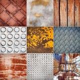 Collection of various metal textures Stock Photos