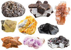 Collection of various mineral crystals and stones. Pumice, staurolite, Aragonite, Chalcopyrite, Orpiment, Obsidian, glendonite, amethyst, gneiss with kyanite Stock Photos