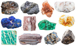 Collection of various mineral rocks and stones Royalty Free Stock Images