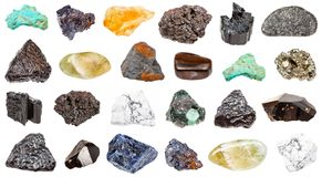 Collection of minerals isolated on white Royalty Free Stock Image