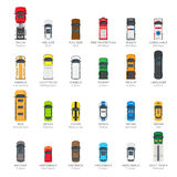 Collection of Various Modern Kinds of Automobiles. Collection of various kinds of car body icons in flat style. Types of auto - minivan, limousine, truck, police Stock Image