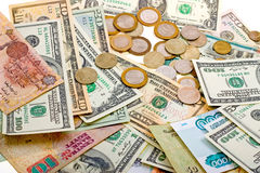 A collection of various money to background Royalty Free Stock Image
