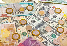 Collection of various money to background Stock Photos