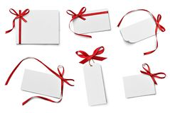 Ribbon bow card note chirstmas celebration greeting stock photos