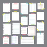 Collection of various note papers with different tape strips. Cu Stock Photography