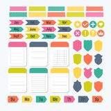 Collection of various note papers with different tape strips. Te Royalty Free Stock Photos