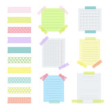 Collection of various note papers with different tape strips Royalty Free Stock Photo
