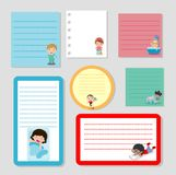 Collection of various note papers and daily routine of child, Little child daily activities, ready for your message. Vector royalty free illustration