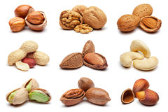 Collection of various nuts on white. Stock Image