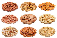 Collection of various nuts on white. Stock Images