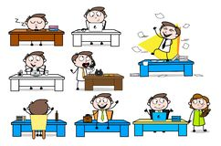 Collection Of Various Office Table Cartoon Professional Businessman. Vector design royalty free illustration