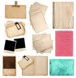 Collection of various old paper sheets and photo frames Stock Images