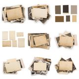 Collection of various old photos on white background. each one is shot separately. Old photo frame. Vintage paper. Retro card stock photography