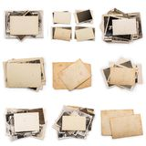 Collection of various old photos on white background. each one is shot separately. Old photo frame. Vintage paper. Retro card stock photos