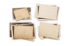 Collection of various old photos on white background. each one is shot separately. Old photo frame. Vintage paper. Retro card stock photo