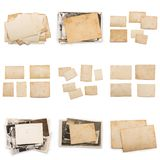 Collection of various old photos on white background. each one is shot separately. Old photo frame. Vintage paper. Retro card royalty free stock photos