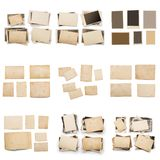Collection of various old photos on white background. each one is shot separately. Old photo frame. Vintage paper. Retro card stock image