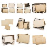 Collection of various old photos on white background. each one is shot separately. Old photo frame. Vintage paper. Retro card royalty free stock images