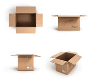 Collection of various open cardboard boxes on white background Stock Photos