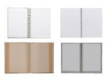Collection of various open notebooks isolated on white Royalty Free Stock Photos
