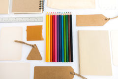 Collection of various paper, cardboard, tag, card, book and colo Royalty Free Stock Images