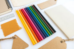 Collection of various paper, cardboard, tag, card, book and colo Stock Photos