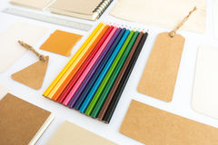 Collection of various paper, cardboard, tag, card, book and colo Royalty Free Stock Image