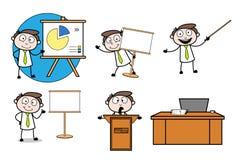 Collection Of Various Presentations Cartoon Professional Businessman. Design royalty free illustration