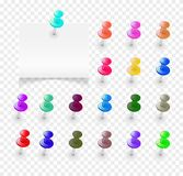Set multicolored buttons. Collection of various push pins. Clerical buttons, set of pushpin in different color. Realistic office thumbtacks. Close up, colorful Stock Photos
