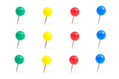Collection of various pushpins on white background Royalty Free Stock Image