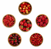 Collection from various red berries. Strawberries, red currants, cherries, raspberries. Stock Photo