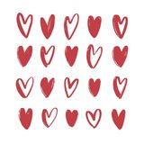 Collection of various red hand drawn hearts isolated on white background. Bundle of love, romance and passion symbols. For Valentine s day. Set of romantic Stock Images
