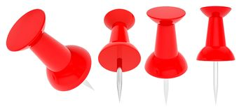 Collection of various red push pins. 3d illustration. Isolated on white background. Close up Royalty Free Stock Image
