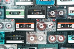Vintage audio cassette on wooden background. royalty free stock photography