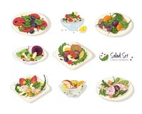 Collection of various salads lying on plates and in bowls isolated on white background - Tabbouleh, Nicoise, Caesar. Waldorf, fruit. Set of hand drawn healthy Royalty Free Stock Photo