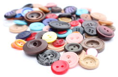 Collection of various sewing buttons on white background Royalty Free Stock Images