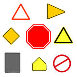 Collection of various shaped traffic signs Royalty Free Stock Photo