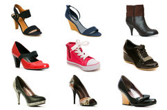Collection of various shoes Stock Photos