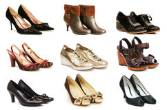 Collection of various shoes Stock Image