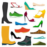 Collection of various shoes. Illustration of a collection of various shoes on white background Royalty Free Stock Image