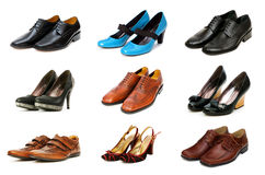 Collection of various shoes isolated. On white Stock Images