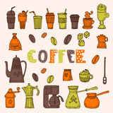 Collection of various sketches coffee doodles elements. Hand dra Stock Photography